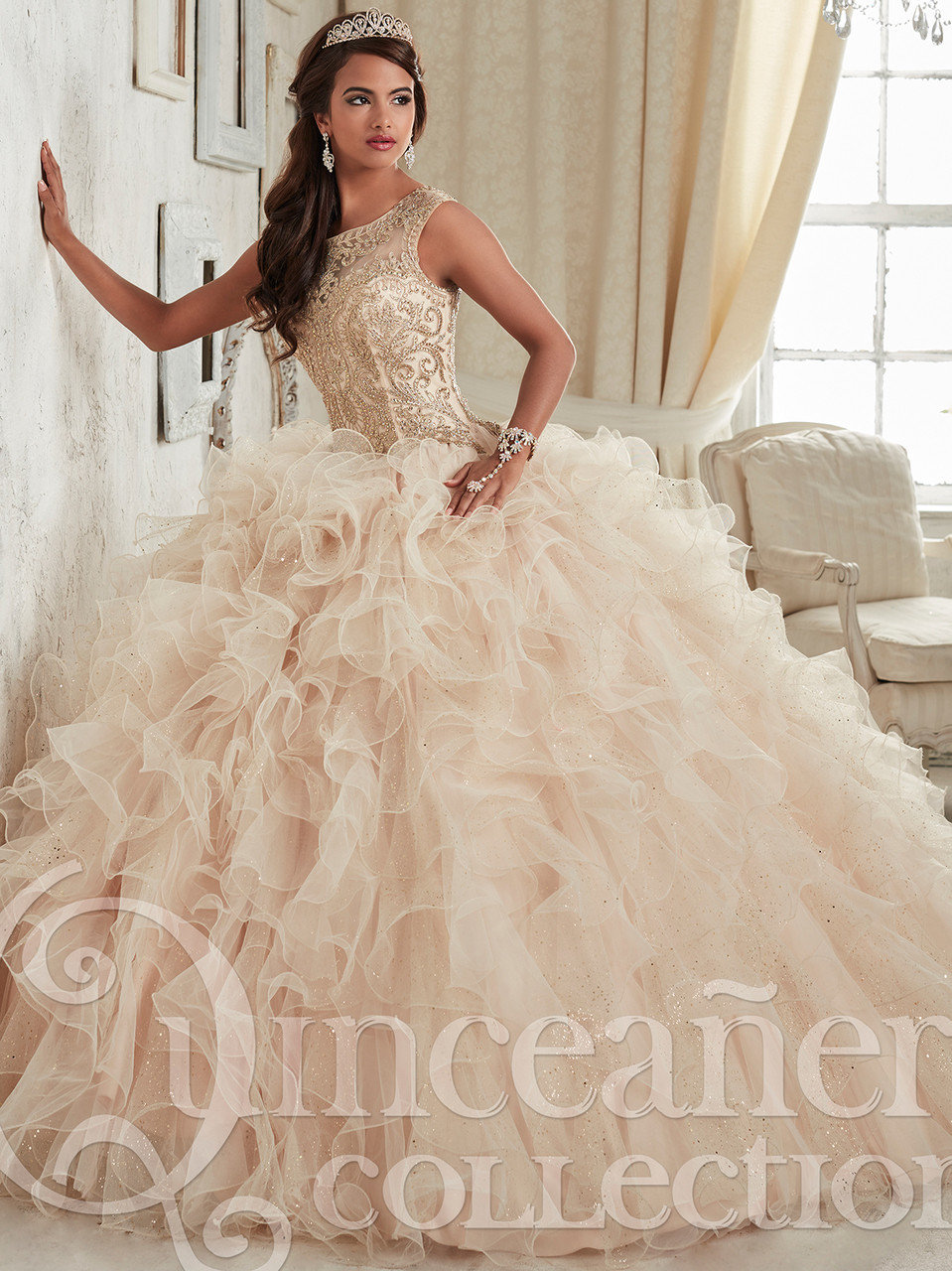 7cf08c5ee ... Sparkle Tulle Ruffled Ball Gown Tiffany Quinceanera Dress 26835. Color   Required Champagne Gold Rose Petal Gold Wine Gold Rose Pink Gold