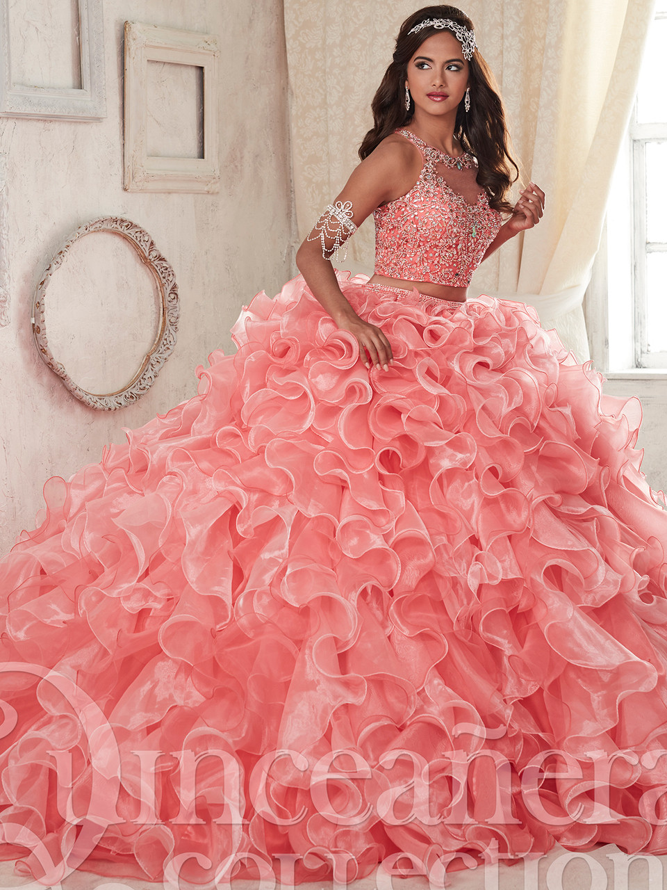 7517356036e Two piece quinceanera dress with ruffle skirt tiffany 26830