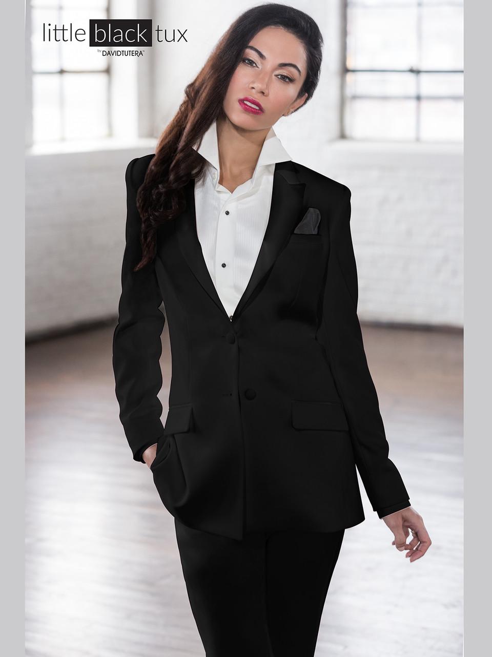 f347152359 Black satin peak lapel tuxedo suit jacket for women