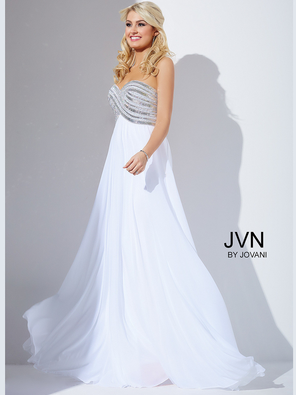 04feb49352 Strapless Chiffon Prom Gown by Jovani JVN30012
