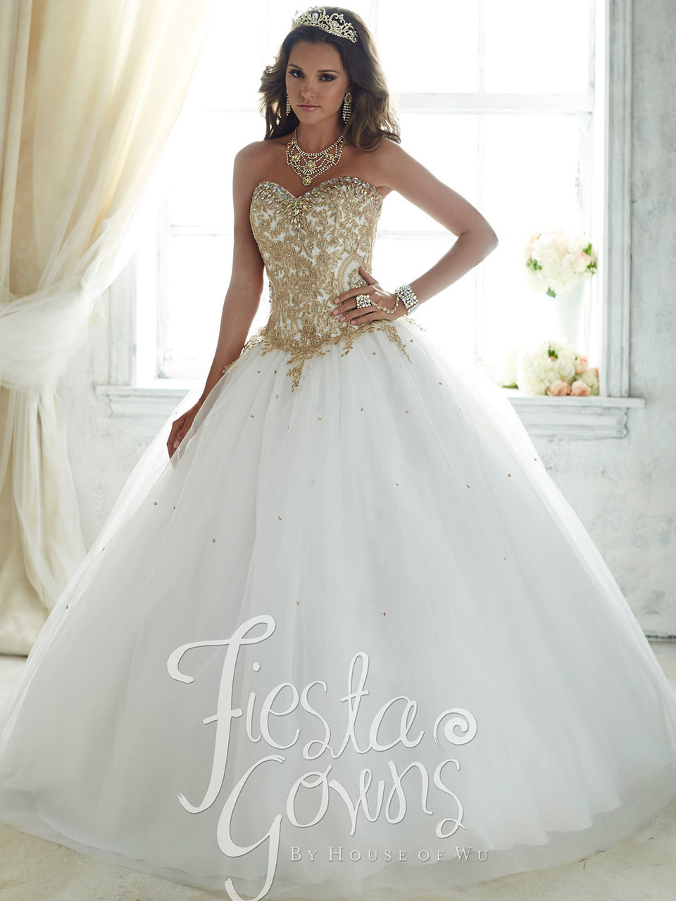 f4c41101430 Gold embroidery lace and white quinceanera dress with plain tulle skirt by  fiesta gowns 56286