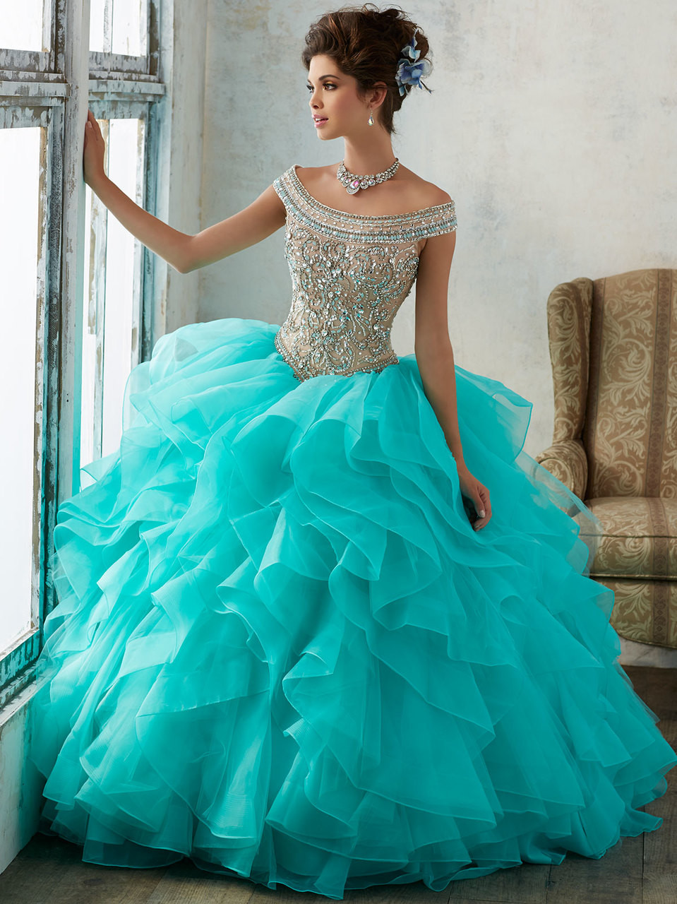 30b06e43da Off The Shoulder Vizcaya Quinceanera Dress With Ruffled Organza Skirt 89138