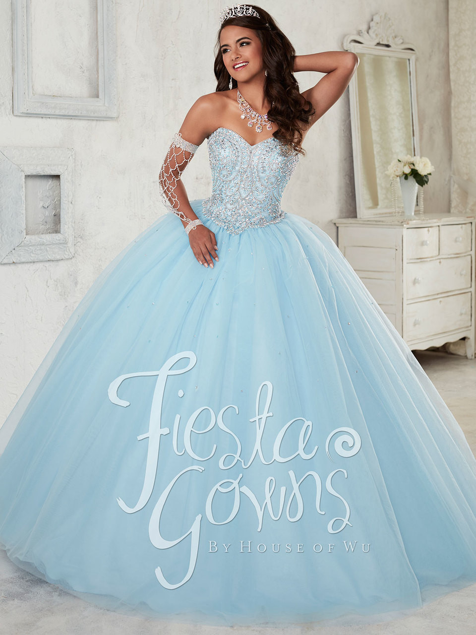 6aa095ad643 Light blue quinceanera dress with silver stones and plain tulle skirt by fiesta  gowns 56298