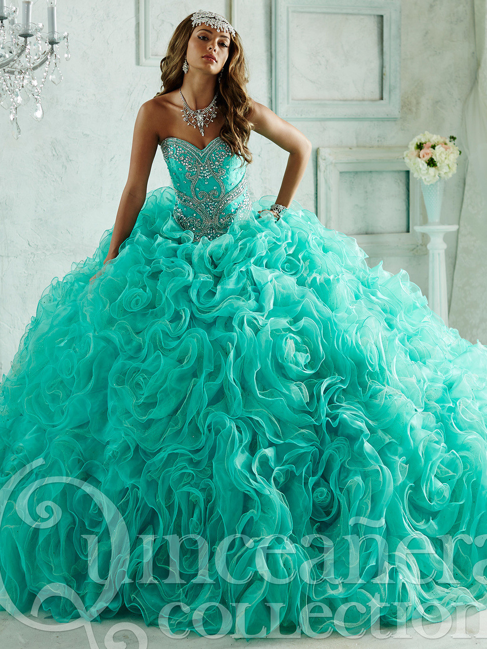 d5a8aa263f Quinceañera Collection 26801 Beaded Bodice Ball Gown ...