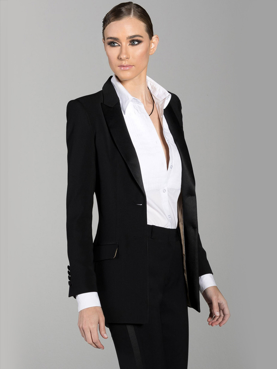8d1aae9f55 Black tuxedo suit jacket for women Diane with satin peak lapel