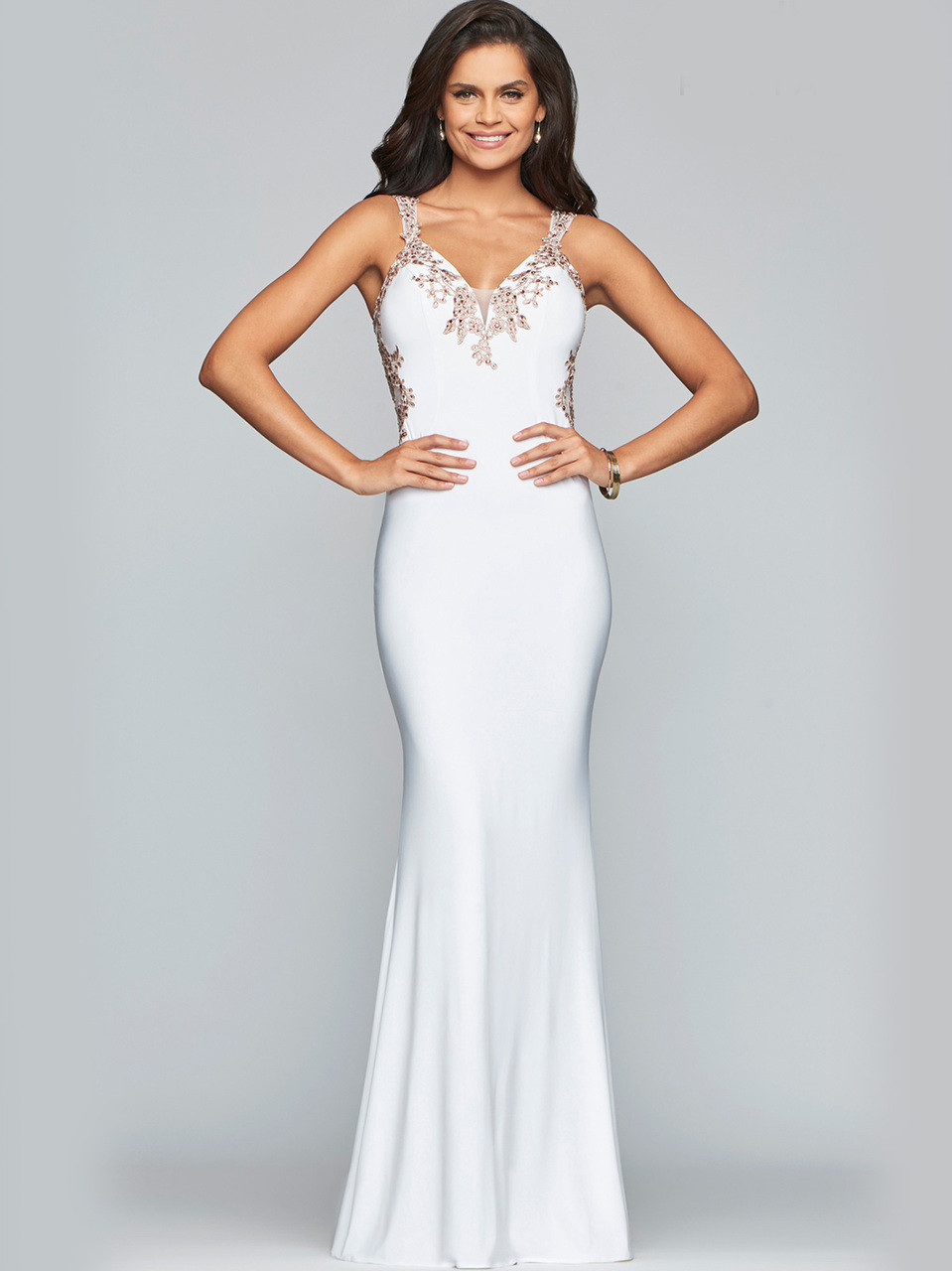 2d60b6601e7 white jersey open back faviana formal dress S7999. Previous. Fit   Flare  Prom Gown by Faviana Social ...