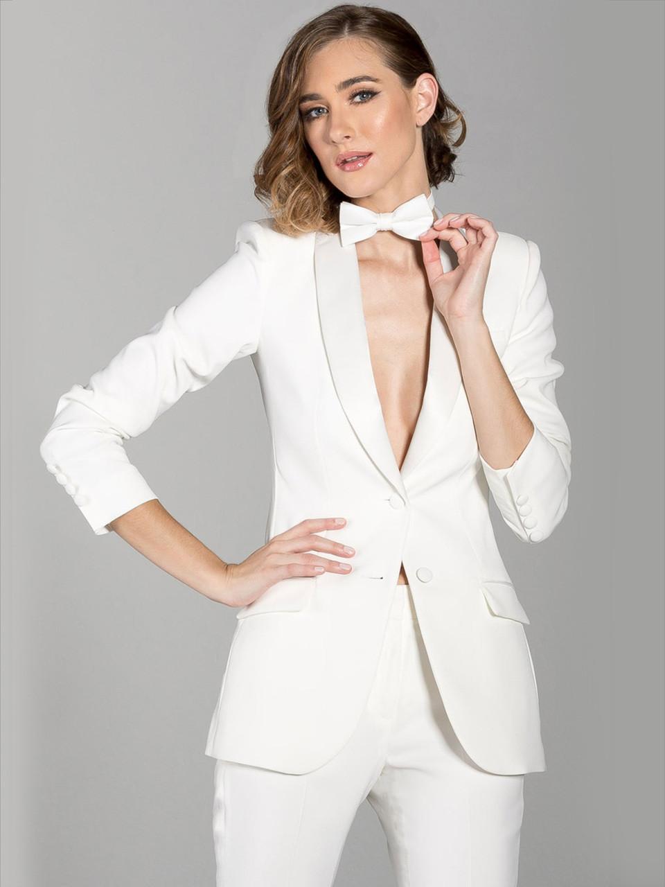 Diamond White women tux suit jacket long length with shawl collar lapel e893e1a5e