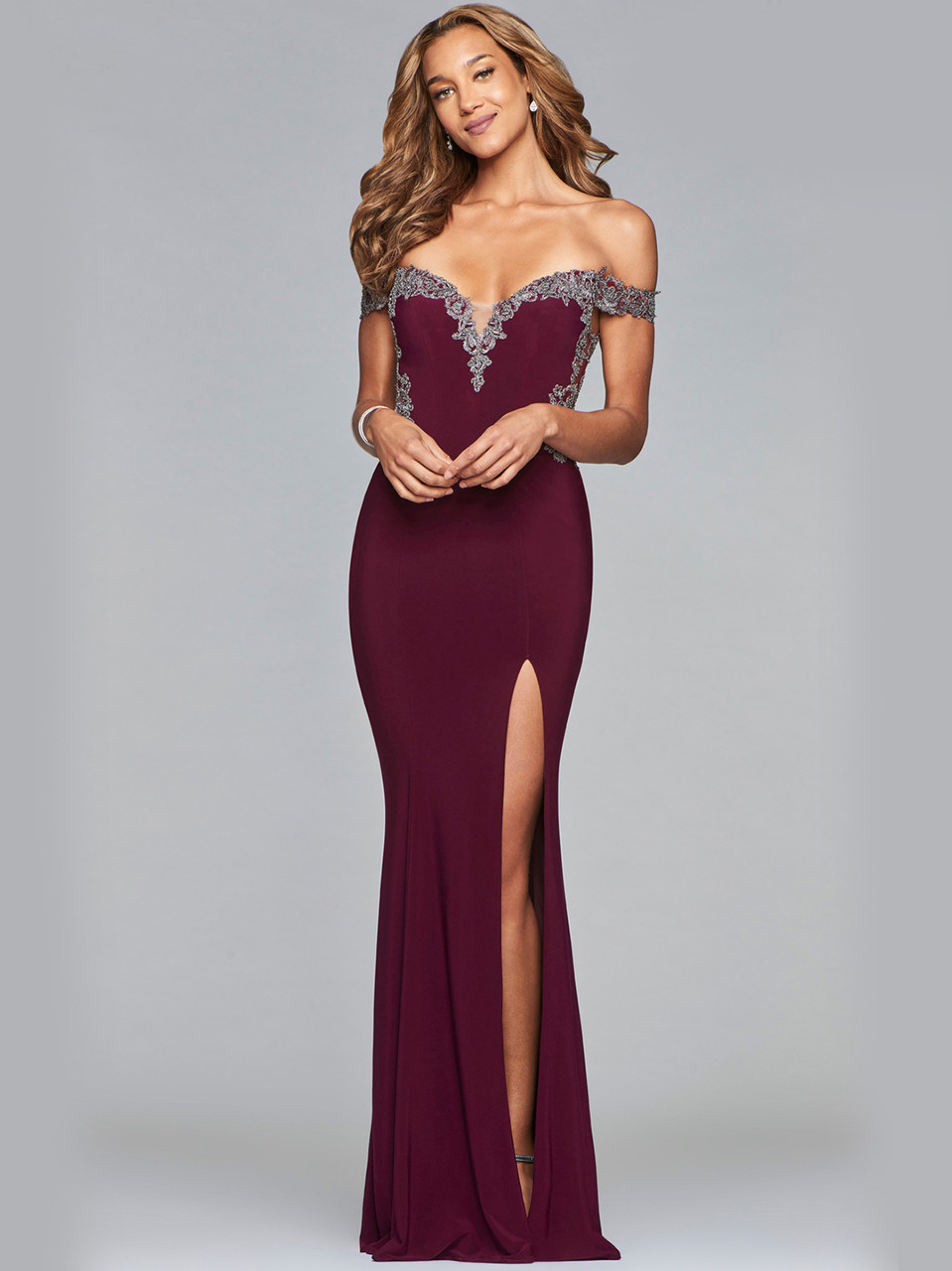017585b1e157 faviana-prom-dress-s10001. Previous. Off The Shoulder Fitted ...
