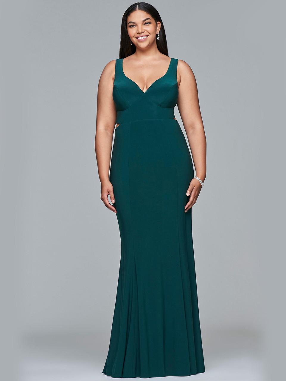 5b9b7389380 V-neck Fitted Jersey Faviana Curves Dress 9429