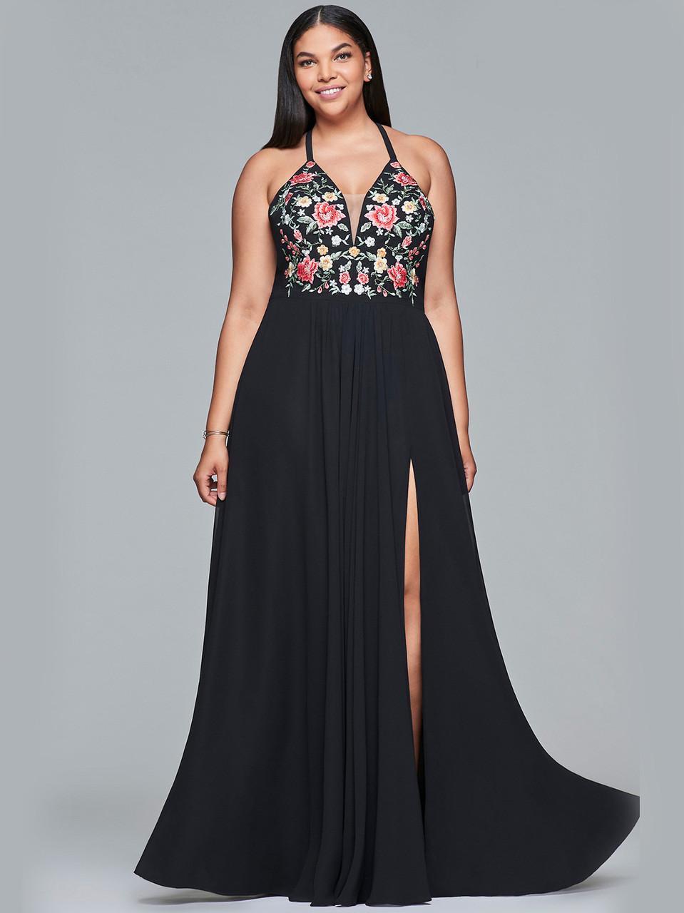 5a08b322541 V-neck A-line Faviana Curves Dress 9435