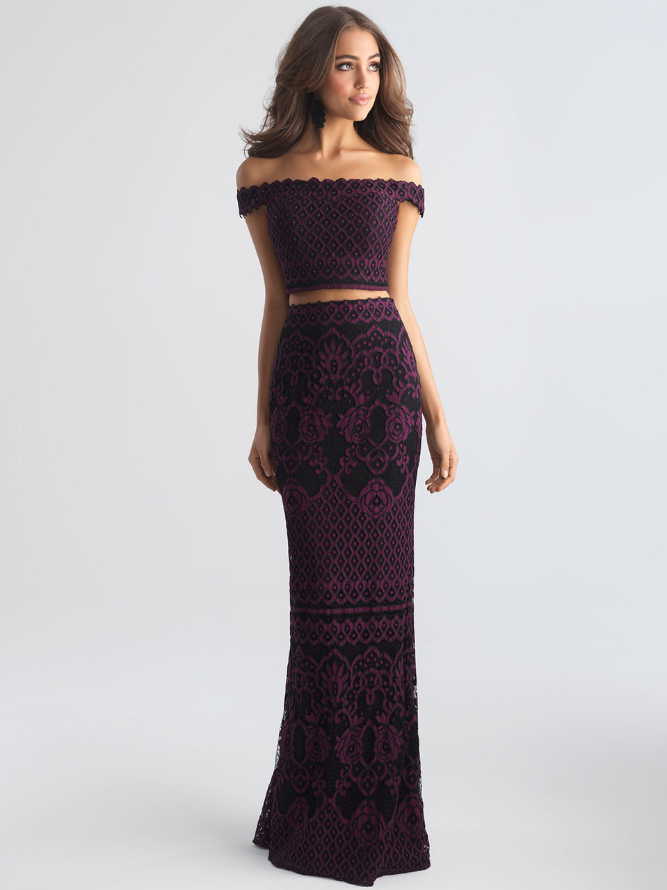 81e68cf0e34 plum two piece prom dress off the shoulder madison james 18-646