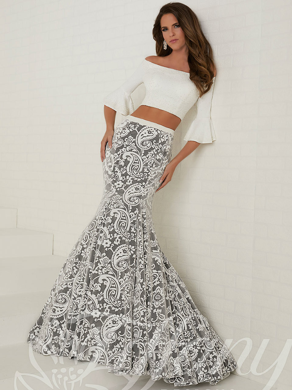 320d36d607fa Bell Sleeves Two Piece Tiffany Designs Prom Dress 16272. Free shipping