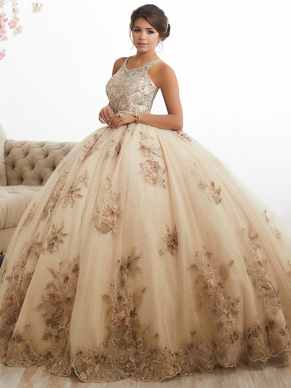 High Neckline Ball Gown Tiffany Quinceanera Dress 26884