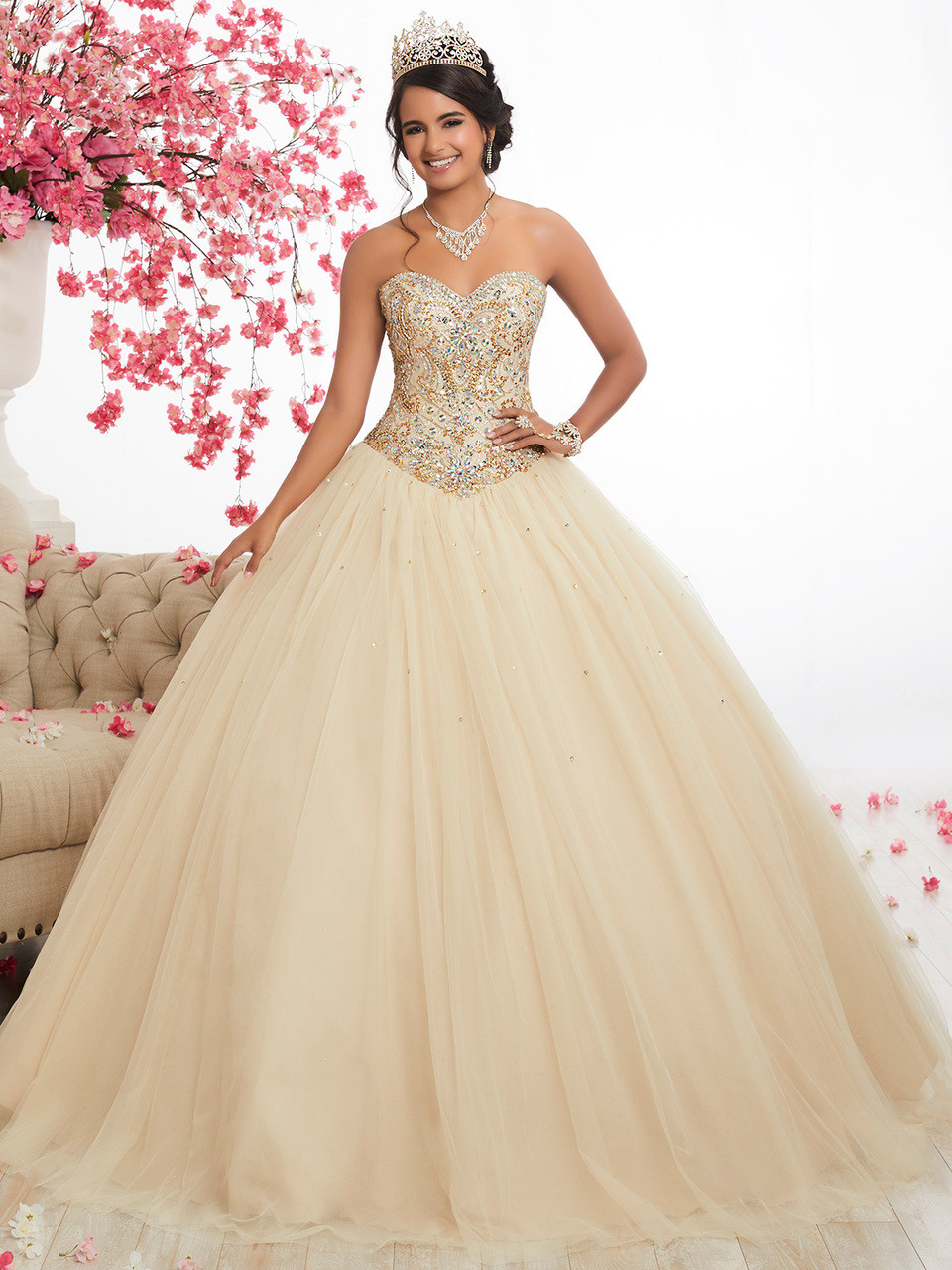 7b4c0dcac34 champagne sweetheart beaded quinceanera dress with tulle skirt fiesta 56281