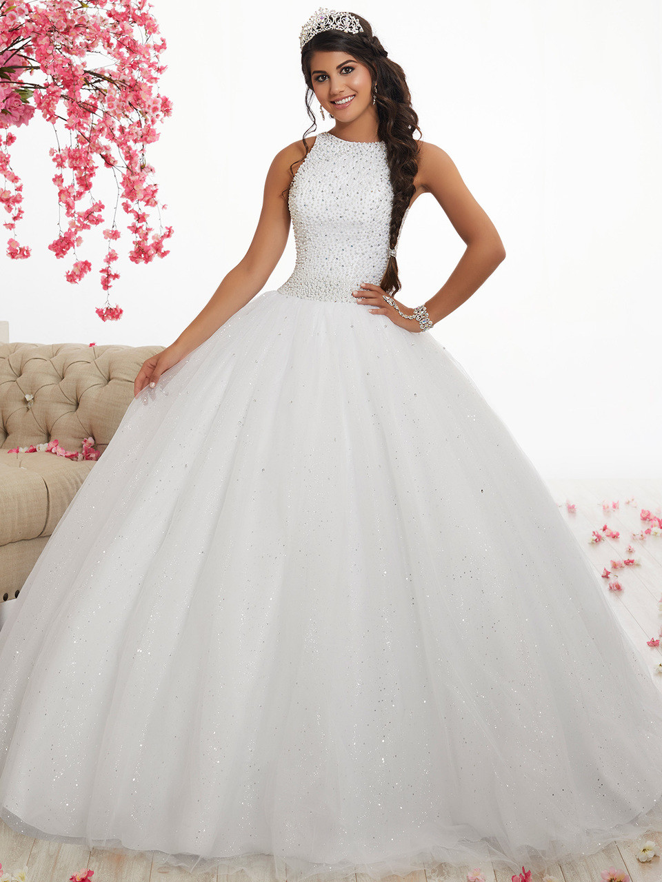 310b88216ff white high neck ball gown quinceanera dress with pearls fiesta 56318