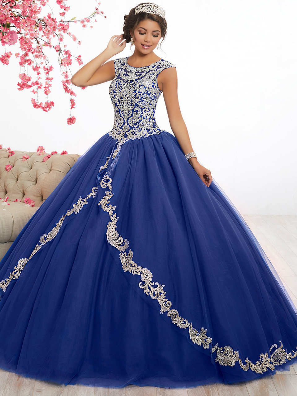 8008006ab91 royal silver quinceanera dress with lace applique by fiesta 56336