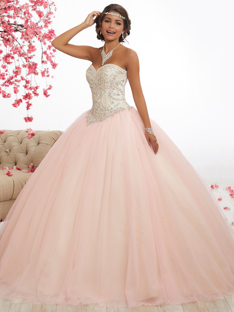 78e72791ce5 cream and pink strapples quinceanera dress with plain skirt in tulle by  fiesta 56337