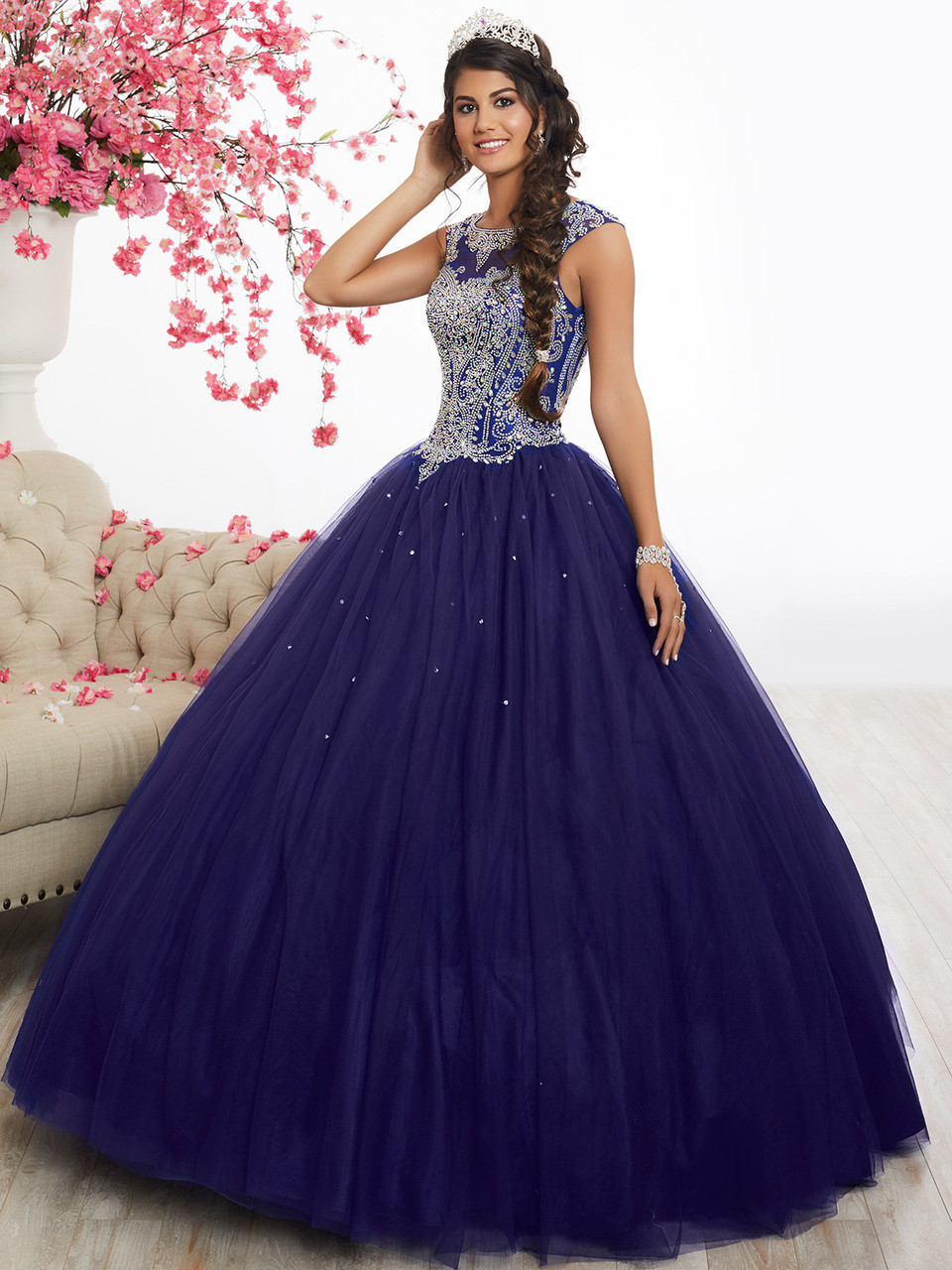 7c7e9d3493a royal purple quinceanera dress with beaded illusion cap sleeves and plain  tulle skirt by fiesta 56338