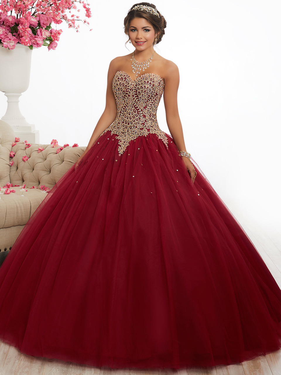 3e015ff2604 gold and wine quinceaneara dress with sweetheart neckline and plain tulle  skirt by fiesta 56341