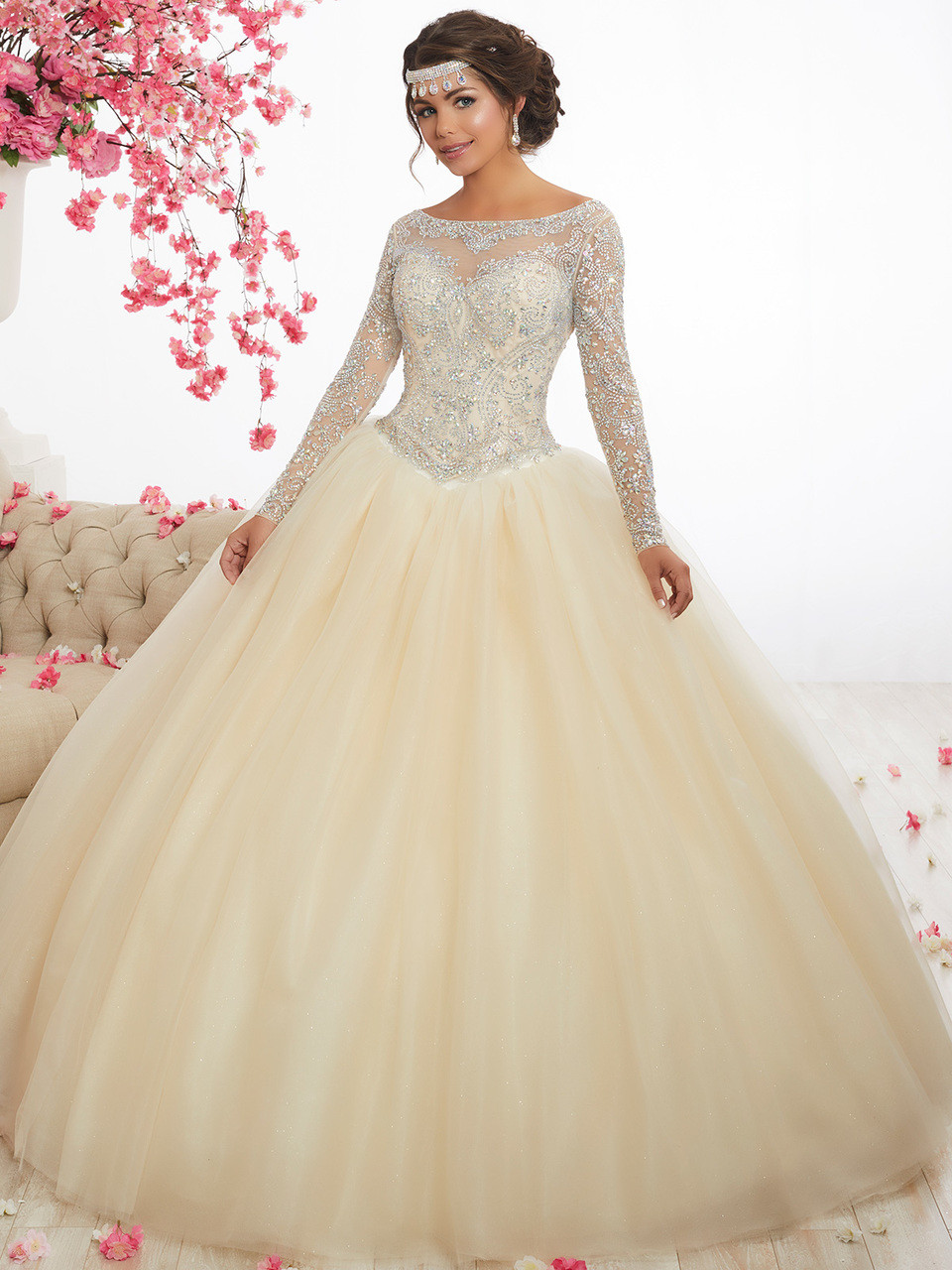 f43d2774fb8 champagne sheer long sleeves quinceanera dress bateau neckline beaded  bodice and plain skirt by fiesta 56347