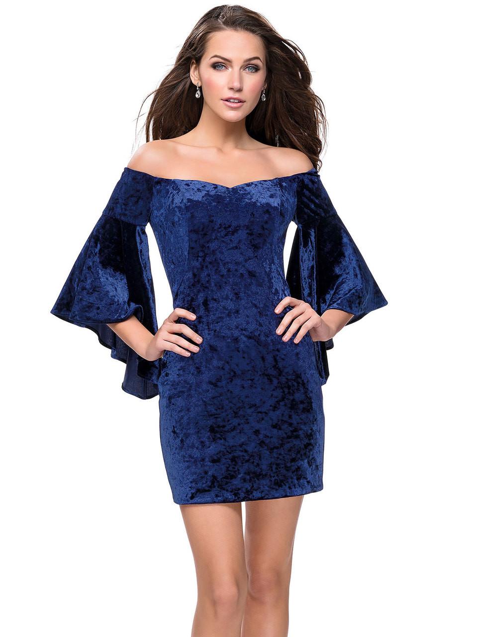8761964ebb6 Velvet Off The Shoulder La Femme Short Dress With Bell Sleeves 26640