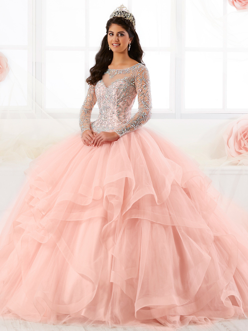 4bee5c6b7958 Illusion Bateau Neckline Tiffany Quinceanera Long Sleeved Ball Gown Dress  26904