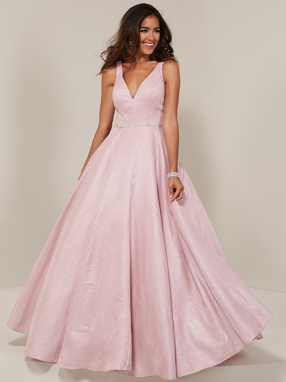 fbd030972d6 V-neck A-line Tiffany Designs 16334 Prom Dress - PromHeadquarters.com