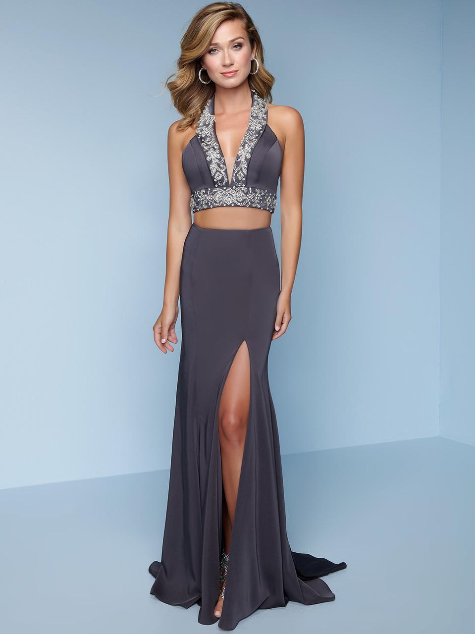 7ddf40a5b3 Two-Piece High Slit Splash Prom Dress K132   PromHeadquarters.com