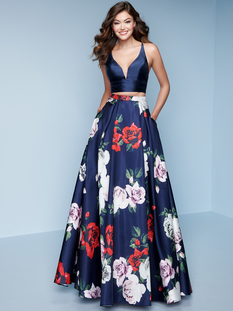 86a1244ae8c Floral Two-Piece Splash Prom Dress K133   PromHeadquarters.com