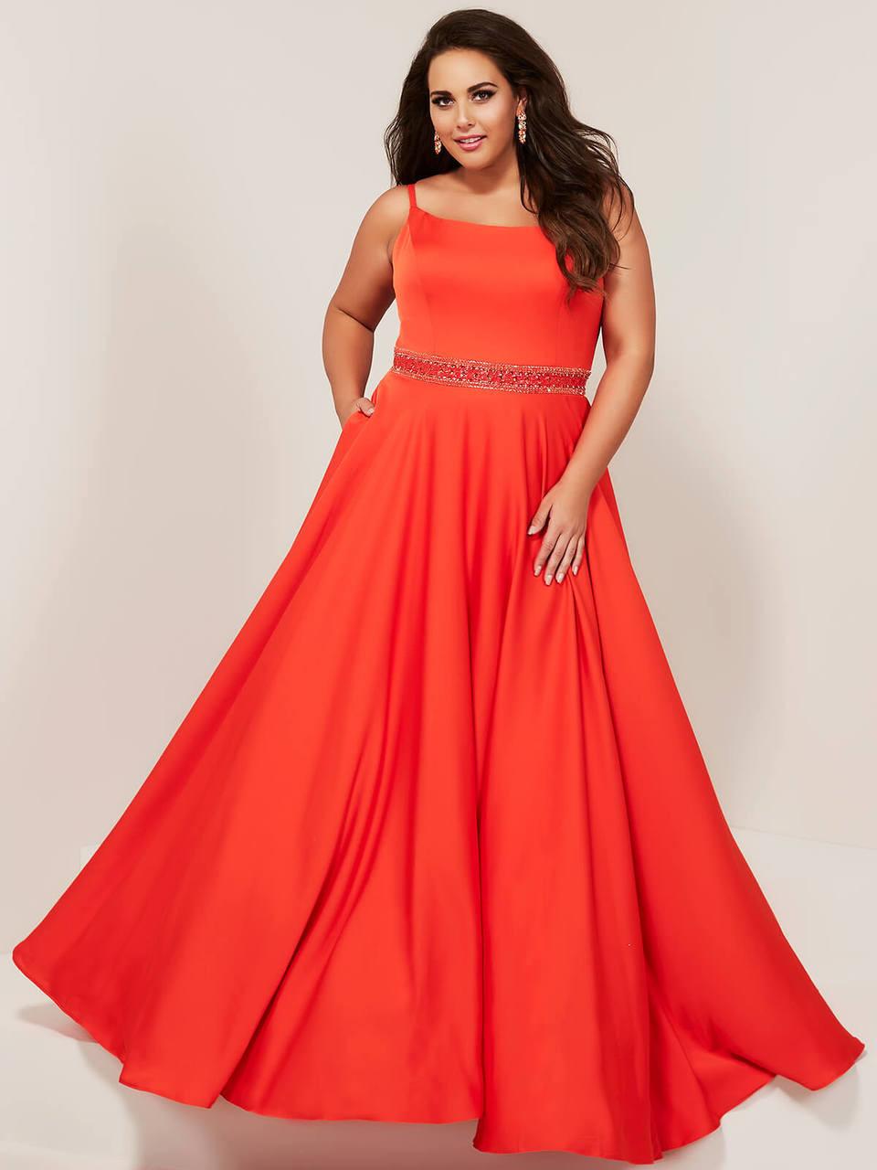Scoop Neckline A-line Tiffany Designs 16383 Plus Size Prom Dress ...