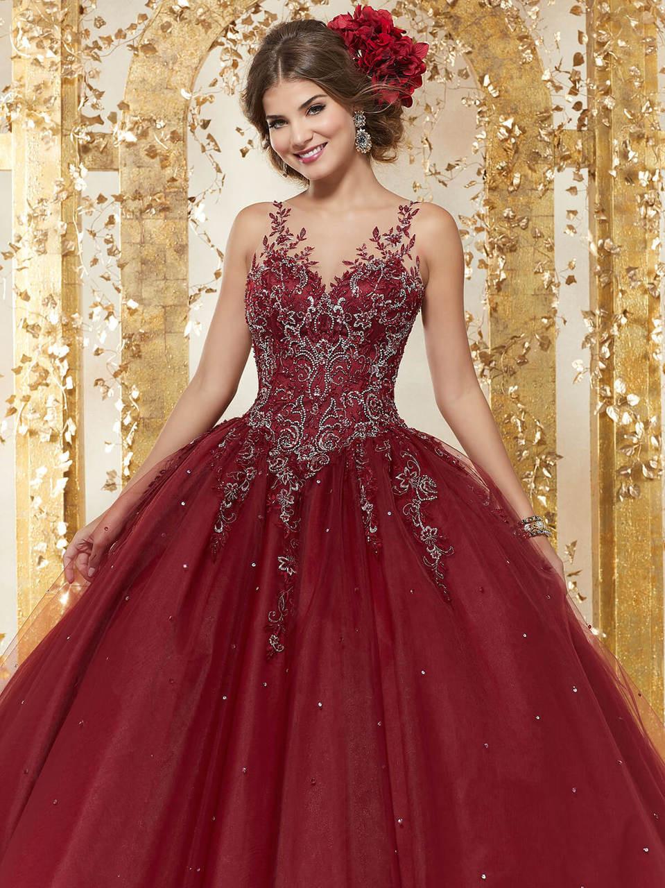 e115a83eb illusion neckline vizcaya quinceanera ball gown 89223. Free shipping