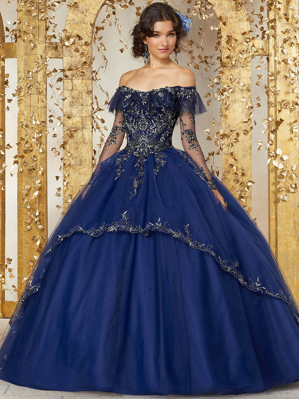 0aee81b6143 off the shoulder with long sleeves vizcaya quinceanera ball gown 89235