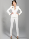 Tuxedo suit jacket in Diamond White for women