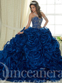royal blue quinceanera dress with ruffle skirt in organza and sweetheart beaded bodice