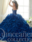 royal blue quince dress corset back with semi train