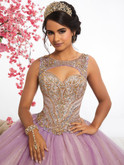 keyhole neckline lilac quince dress with sparkle plain skirt fiesta 56344