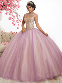orchid champagne two tone quinceanera dress with cutout back by fiesta 56344