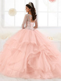 Illusion Bateau Neckline Quinceanera Collection Long Sleeved Dress 26904