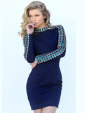 Embellished Long Sleeve Short Sherri Hill Dress 50639