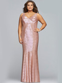 faviana v-neck metallic jersey prom dress 9453
