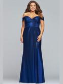 faviana off shoulder metallic jersey prom dress 9457