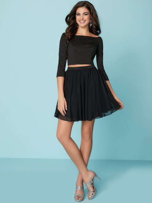 2060e243b2e black two piece short dress with sleeves hannah s 27163
