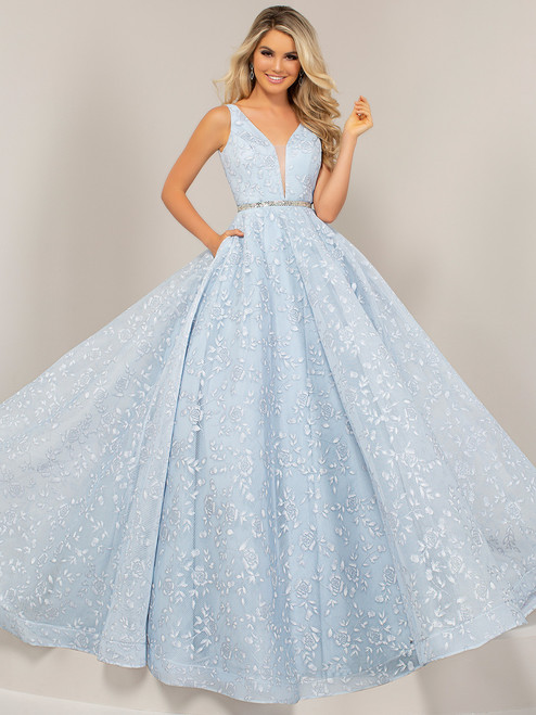 Prom Dress with Aqua Blue with Silver for Tail
