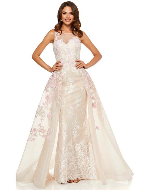 f4810659485d32 illusion neckline sherri hill prom dress 52161
