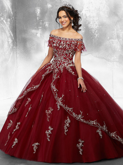 48271cdd83d Off The Shoulder With Long Sleeves Vizcaya Quinceanera Ball Gown ...