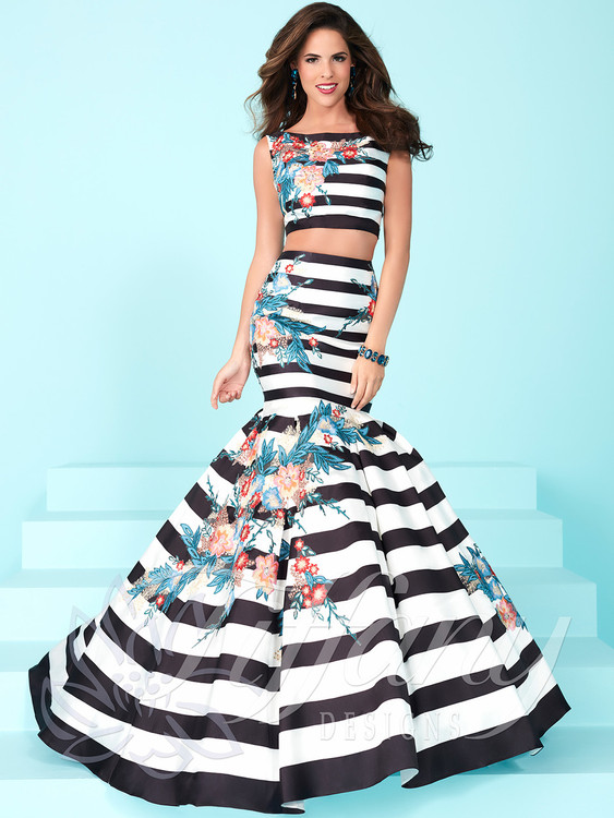 novelty two piece prom dress with stripes and floral prints size 8 by tiffany designs 16250