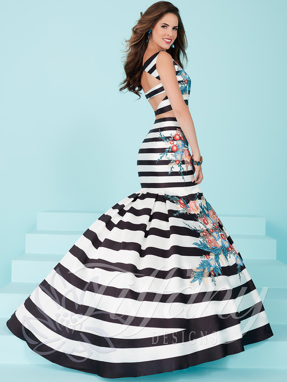 f8c6ac13c9b2 Tiffany Designs 16250 Printed Striped Prom Dress | PromHeadquarters.com