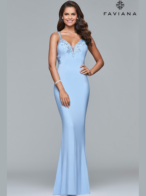 aceb1544cb9 ... Fit   Flare Prom Gown by Faviana Social S7999 ...