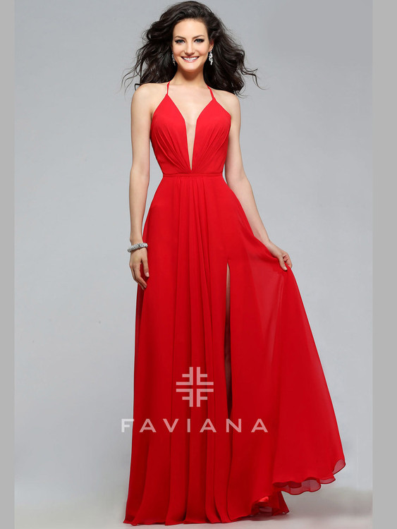bc86958e70e ... red chiffon v-neck faviana prom dress 7747 ...