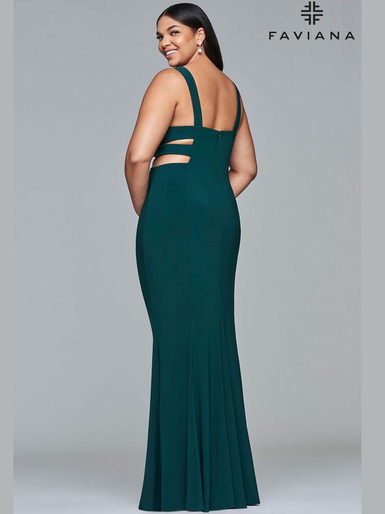 e5866a393db ... V-neck Fitted Jersey Faviana Curves Dress 9429